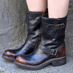 Buckle Vintage Pu Leather Low Heel Zipper Mid-Calf Boots