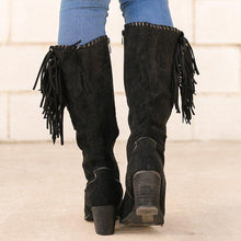 Load image into Gallery viewer, Vintage Faux Suede Rivet Block Heel Zipper Knee-High Boots