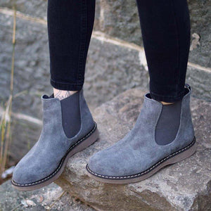 Artificial Suede Slip-On Artificial Suede Womens Ankle Boots