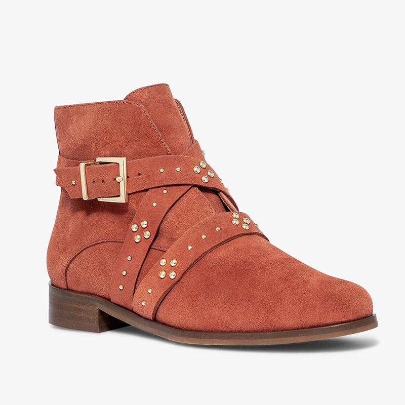 Buckle Strap Faux Suede Low Heel Womens Low Heel Ankle Boots