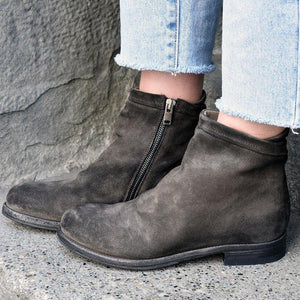 Women Stylish Low Heel Faux Suede Side Zipper Ankle Boots