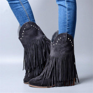 Mid-Calf Fringe Boots Artificial Leather Slip-On Boots