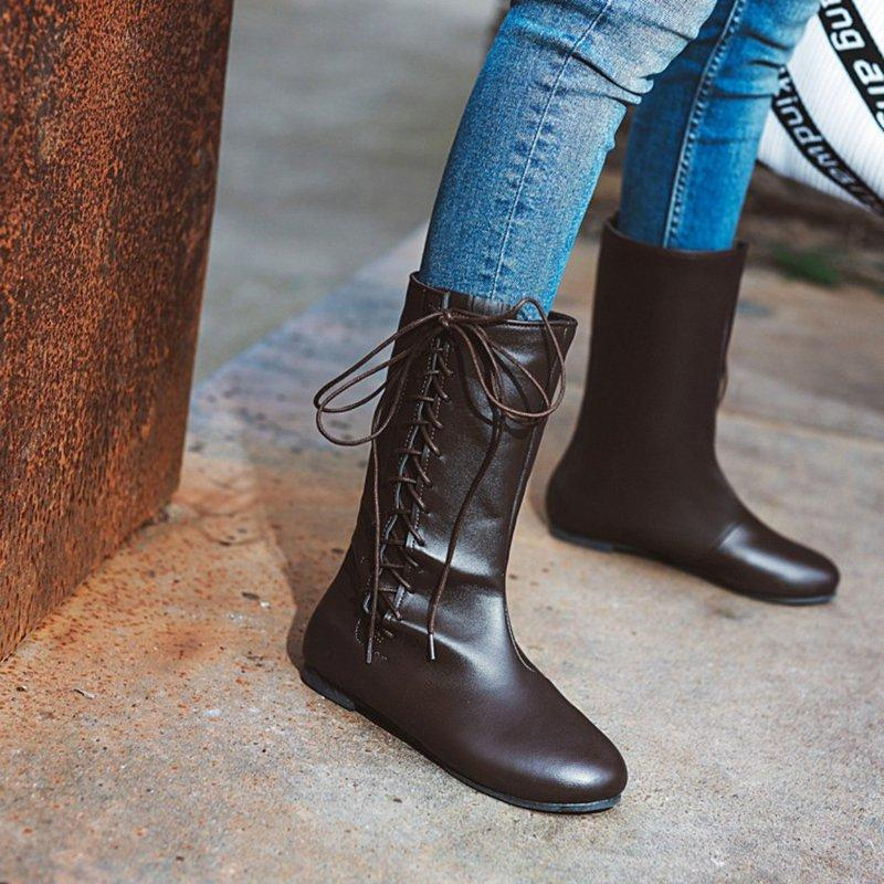 Flat Side Lace-up Round Toe Boots