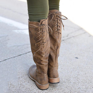 Low Heel Knee-High Long Boots Lace-Up Artificial Leather Boots