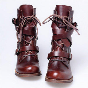 Buckle Chunky Heel Cross-tied Boots Lace Up Casual Boots