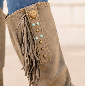 Vintage Faux Suede Rivet Block Heel Zipper Knee-High Boots