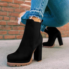 Load image into Gallery viewer, Elastic Panel Slip On Chunky Heel Ankle Suede Boots