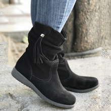 Load image into Gallery viewer, Womens Tassel Knot Flat Heel Round Toe Slide Casual Boots