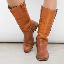 Load image into Gallery viewer, Low Heel Slip-On Pu Mid-Calf Casual Boots