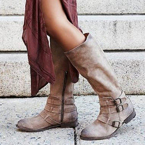 Low Heel Adjustable Buckle Artificial Leather Mid-Calf Boots