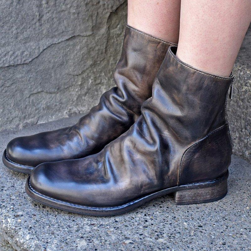 Charcoal Brown Low Heel All Season Artificial Leather Zipper Boots