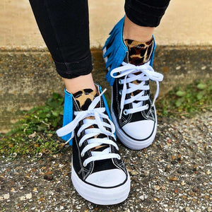 Tassel Leopard Printed Lace Up Canvas Sneakers