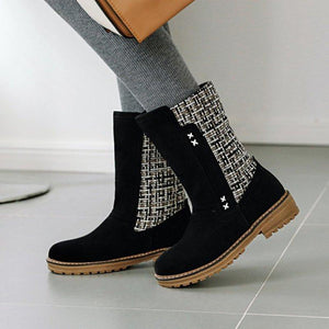 Women's Simple Style Slip-on Low Heel Ankle Boots