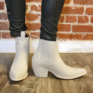Women Block Heel Pointed Toe Chelsea Boots Slip-On Ankle Booties