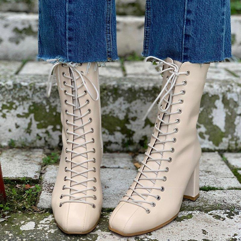 Elegant Front Lace-up High Heel Boots For Women