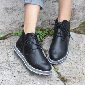 Simple Style Lace-up Round Toe All Season Ankle Boots