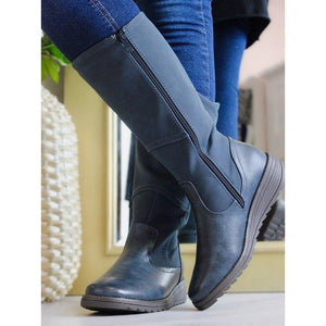 Round Toe Mid-Calf Artificial Leather Boots Womens Casual Boots