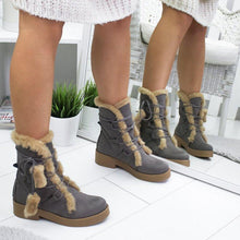 Load image into Gallery viewer, Women Round Toe Cotton Artificial Suede Lace-Up Snow Boots