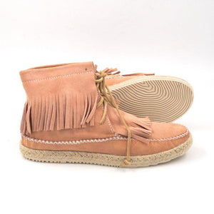 Espadrilled Tassel Low Heel Lace Up Ankle Boots
