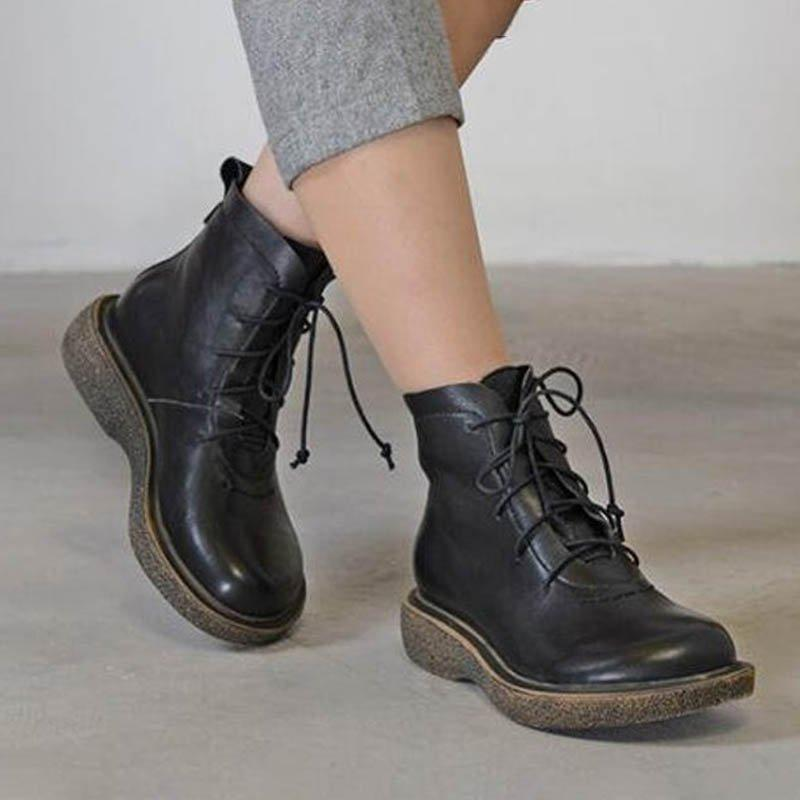 Flat Heel Pu Lace-Up All Season Boots Ankle Short Boots