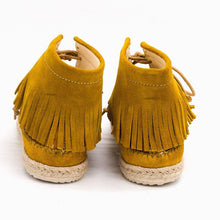 Load image into Gallery viewer, Espadrilled Tassel Low Heel Lace Up Ankle Boots