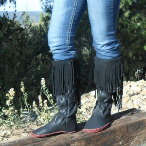 Tassel Fringe Pu Leather Mid-Calf Flat Boots