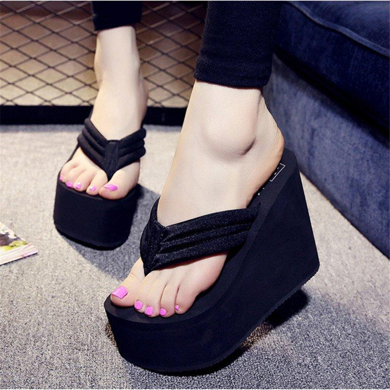 Womens Flip Flops Platform Casual Beach Slippers