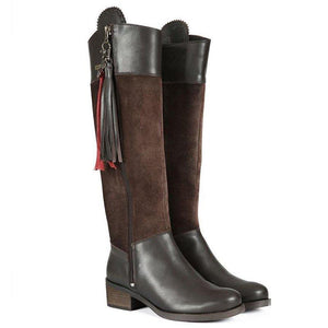 Vintage Split Joint Side Zipper Riding Boots Tassel Knee-High Boots