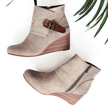 Load image into Gallery viewer, Wedge Heel Side Zipper Buckle Strap All Season Ankle Booties