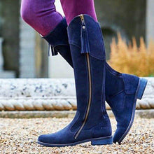 Load image into Gallery viewer, Vintage Faux Suede Winter Riding Boots Women Tassel Knee-High Boots