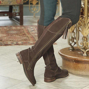 Vintage Faux Suede Winter Riding Boots Women Tassel Knee-High Boots