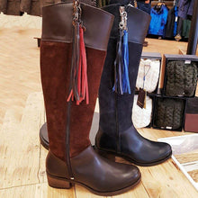 Load image into Gallery viewer, Vintage Split Joint Side Zipper Riding Boots Tassel Knee-High Boots