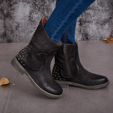 Load image into Gallery viewer, Rivet Artificial Leather Low Heel Zipper Casual Boots