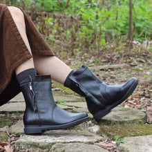 Load image into Gallery viewer, Comfortable Oxford Boots Mid-Calf Low Heel PU Leather Boots