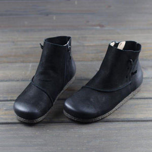 Vintage Casual Side Zipper Ankle Boots
