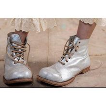 Load image into Gallery viewer, Light Gray Chunky Heel All Season Lace Up Boots