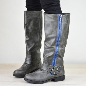 Womens Knee-High Low Heel Round Toe Riding Boots