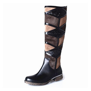 Slip On Low Heel Patchwork Boots Womens Knee High Fashion Winter Boots
