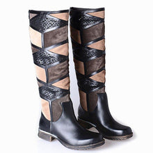 Load image into Gallery viewer, Slip On Low Heel Patchwork Boots Womens Knee High Fashion Winter Boots