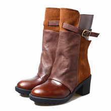 Load image into Gallery viewer, Chunky Heel Buckle Short Boots Round Toe Zipper Boots