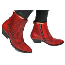 Load image into Gallery viewer, Chunky Heel Pointed Toe Zipper Ankle Boots Womens Casual New Boots