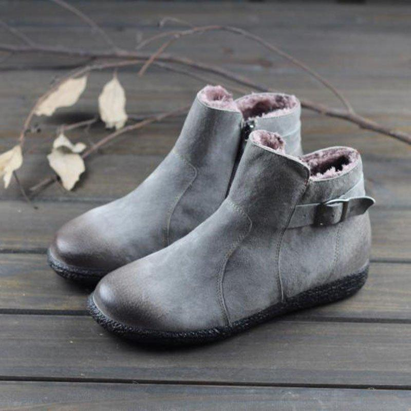 Warm Flat Side Zipper Buckle Strap Ankle Snow Boots