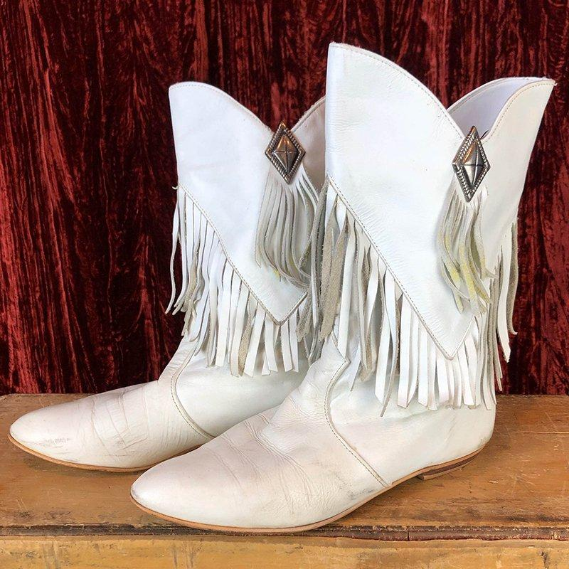 Women's Vintage 80's Fringe Boots Slip-On Pointed Toe Mid-Calf Boots