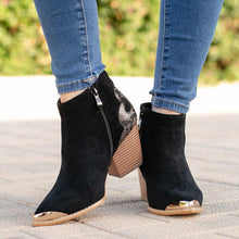 Load image into Gallery viewer, Vintage Women Block Heel Faux Suede Zipper Ankle Boots