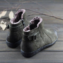 Load image into Gallery viewer, Warm Flat Side Zipper Buckle Strap Ankle Snow Boots