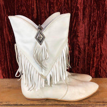 Load image into Gallery viewer, Women's Vintage 80's Fringe Boots Slip-On Pointed Toe Mid-Calf Boots