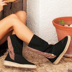 Black Faux Suede Platform Slip On Boots