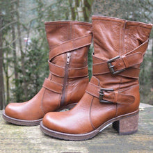 Load image into Gallery viewer, Double Buckle Strap Block Heel Boots Vintage Women Mid-Calf Boots