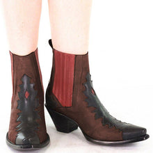 Load image into Gallery viewer, Vintage Block Heel Color Block Ankle Booties Slip-On Winter Women Boots Plus Sizes
