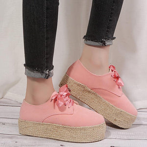 Espadrilled Lace Up All Season Suede Sneakers